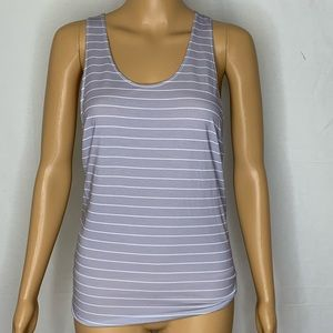 DYI Be Centered Striped Tank Top Grey White Twist